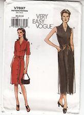 Vogue 7897 Sash Dress Semi Fit Straight Sew Pattern 20-24 Uncut FF Very Easy