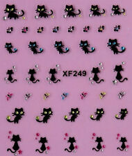 Pussy Black Cat Butterfly Halloween 3d Nail Art Stickers Decals Tips Decorations