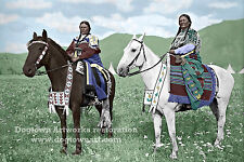 Giclee Restored Reprint Vintage Native American PHOTO, INDIAN WOMEN on Horses