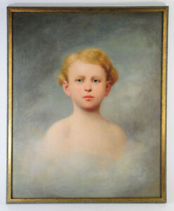 Friedrich Karl Steinhardt Original Oil Painting Dated 1888 Portrait of Young Boy