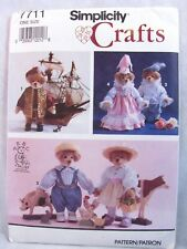 Historical Bear and Clothes Sewing Pattern Simplicity 7711 Jointed Plush Uncut