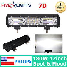 7D TRI ROW 12INCH 180W LED LIGHT BAR SPOT FLOOD OFFROAD CAR TRUCK PK 72W 14 20