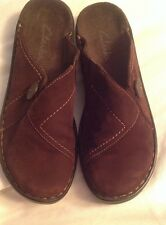 CLARKS  Dark Brown Suede Leather MulesTop Stitched In Tan Size 6 M