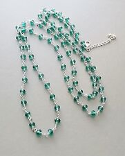 Green glass crystal bead long necklace .. sparkling flapper faceted jewellery