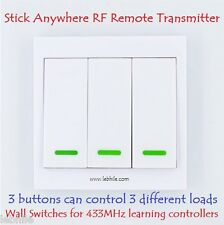Stick Anywhere Wall Switch 3 Button RF Remote Transmitter for Learning Controler