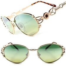 Funky Vintage Old Fashion 50s 60s Womens Stylish Gold Green Lens Oval Sunglasses