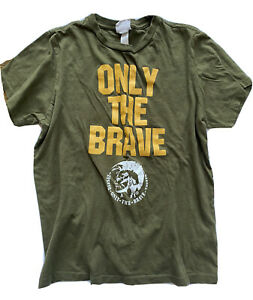 Diesel Only The Brave Trojan Warrior Graphic Tee Shirt Boys 10 12 L Army Green