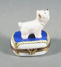 Limoges France Original Trinket Box.Puppy Dog Terrier