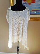 CATO White Lace Overlay Short Sleeve Asymmetrical Hem Top Sz 26/28