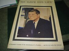 John F Kennedy He Gave His Life Nashville Tennessean 1963 Vg