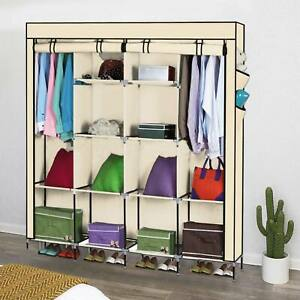 Large Fabric Canvas Wardrobe With Hanging Shelving Clothes Storage Cupboard New