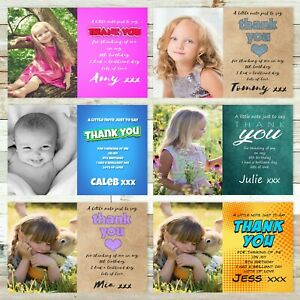 16x 10x Photo Personalised Thank You Cards • Baby Birthday • Boys Girls Kids