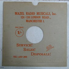 "78rpm 12"" card gramophone record sleeve MAZEL RADIO , MANCHESTER red print"