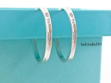 Tiffany & Co. Sterling Silver 1837 Narrow Large 33mm Hoop Earrings w box  20521E