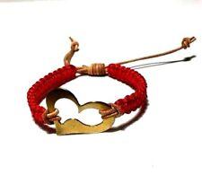 Heart Antique Bronze Red Nylon Cord Beige Leather Bracelet Women's- 7.5 inches