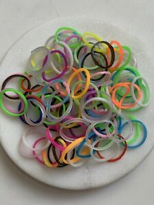 Mini Elastic Hair Bands Multi Coloured 100 In Pretty Organza Wrap
