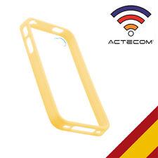 FUNDA CARCASA BUMPER PARA IPHONE 4 Y 4S AMARILLO TRASERA TRANS + PROTECTOR