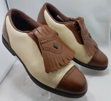 Ladies Womens Foot Joy Footjoy TCX Brown/Cream Leather Upper Golf Shoes Size 7M