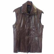 Julius Brown Leather Vest sz 2 Medium Cowl Neck Jacket Calf Leather
