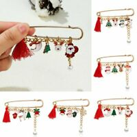 Christmas Snowman Elk Santa Claus Pearl Tassel Safety Brooch Pin Xmas Jewelry