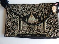 Taj Majal India 1940's Vintage  Evening Purse Gold & Silver on Black Velvet/Box