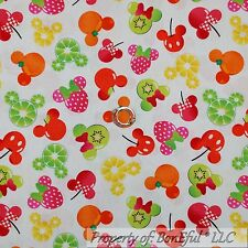 BonEful Fabric Cotton Quilt White Red Pink Disney Minnie Mouse Straw*berry SCRAP