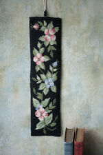 "Wool Needlepoint Victorian Bell Pull Tapestry Floral Handmade Black 20"" Vintage"