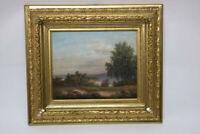Gemälde Landschaft mit See Signiert Klein
