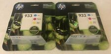 Lot of 2-HP GENUINE 933 Color Ink 3-PACK for OFFICEJET 6600 plus more Exp 2019