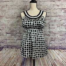 New York & Company Black Sequin Neckline Geometric Sleeveless Top Size 10 Petite
