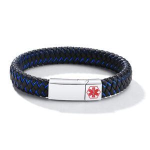 Braided Leather Medical Alert Men Bracelet Magnet Clasp Personalized Engraving