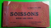 WWI La GUERRE 1914-1918 SOISSONS SOUS LES OBUS-20 POSTCARD BOOK-WAR TORN FRANCE