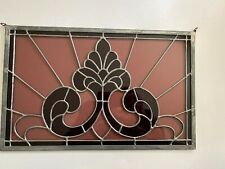 Stain Glass Window Dark and Light Amethyst Fleur de Lis 16.5 x 10.5 inches