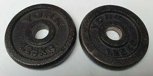 "York 2.5kg (1.25kg x 2) Weight Plates Cast Iron for Standard 1"" bar"