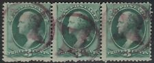 US Scott # 158 3c Washington Fancy Cancel Strip of 3 Purple 4 Point Stars