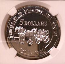 Singapore 1988 SM 5 Dollars Fire Brigade Anniversary NGC PF 69 Cameo - Silver