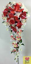 Cream Foam Rose Artificial Silk White/Orange Orchid Teardrop Wedding Bouquet