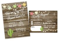 Wedding Invitations Fiesta Cactus Rustic CUSTOM with RSVP Cards Invites QTY 100