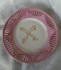 Bavaria Lusterware Bone China Plates Pink HANDCRAFTED PAINTED Vintage Signed