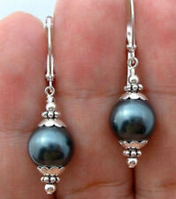 12mm Black Peacock Green Sea Shell Pearl Sterlings Silver Leverback Earrings AA