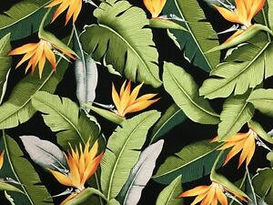 Black Bird of Paradise Hawaiian Print Fabric Sold by the Yard 100% Cotton