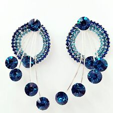 Chic Sparkly Ear Stud  Blue Crystal Silver Plating Dangle Stud Earrings