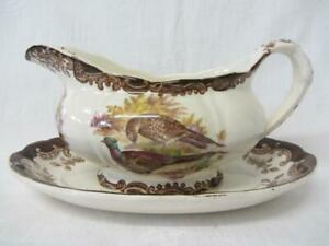 Royal Worcester Palissy Game Series Pheasant/Duck Gravy/Sauce Boat & Stand