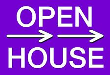 """10 12x18 Corrugated Plastic """"Open House"""" Sign With Wire Stake (2 Sided Purple)"""