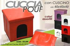 CUCCIA POUF COLORATA CON CUSCINO IMBOTTITO 40X40 CM CANE GATTO OOH-551499