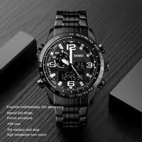 SKMEI Men's Black Steel Fashion Digital Dual Time Watch Precise 304 Steel Strap