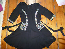KATE MOSS BLACK DRESS & EMBROIDERY 10 TOPSHOP FLARED SKIRT