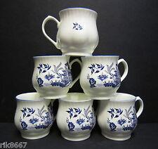 Set of 6 Willow Pattern Bulbous English Fine Bone China Mugs By Milton China