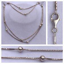 Largo Collar de plata 925 PLATA CON 11 Bola Collar Joyería Plata 95cm