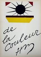 """Henri Matisse - """"de la Couleur"""" (Duthuit 74) - Original Pochoir for Verve, 1945"""
